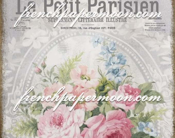 Digital French Shabby Chic Rose wallpaper with French Graphics, French Pillow Image, Transfer Graphic