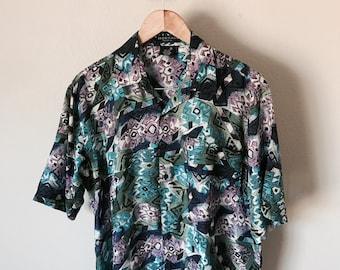 Vintage 80s Silk Button Up