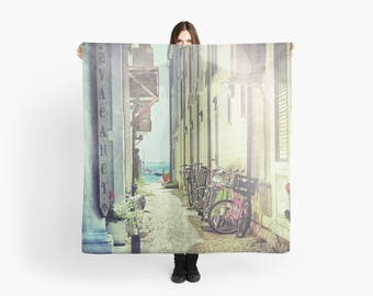 Large Square Scarf- Provincetown, Bicycle Photo Scarf, Fashion Art, Cape Cod photo scarf, Gift for her, Aqua, Red, Yellow, Vacation