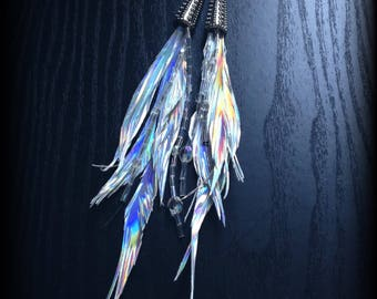 Holographic Feather Earrings Vegan Leather Handmade Silver Rainbow AB Crystal Beads Hypoallergenic Neo Tribal Festival Jewelry