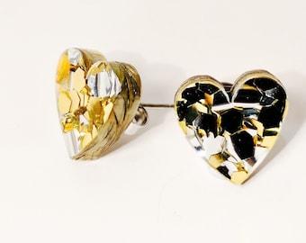 Heart studs - Sparkly Hearts - heart earrings - gold and silver glitter stud earrings - Laser cut acrylic earrings - Acrylic earrings