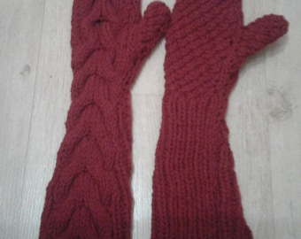 Hand Knitted Long Mittens