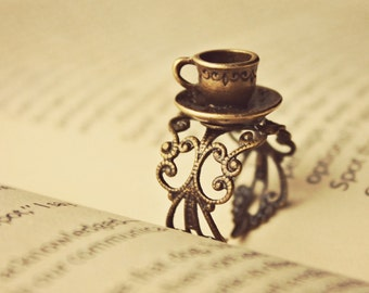 The Mad Hatter ~ a sweet storybook brass adjustable filigree ring with a tea cup and saucer inspired by lewis carroll's alice in wonderland