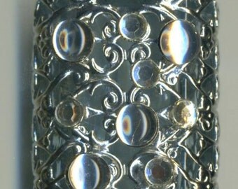 Essential oil bottle, vial, Perfume Bottle bohemian clear glass with silver filigree with crystals PB 489005
