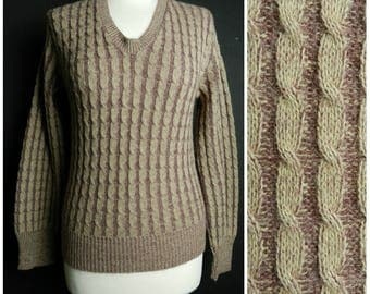 70s ACRYLIC Bobbie Brooks cable knit v neck sweater jumper ribbed edging taupe + mauve SM ~ M