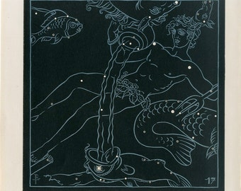 1910 Original Antique Lithograph of Stars Constellations Perseus Triangle Decorative art wall art Astronomy Black & white double sided