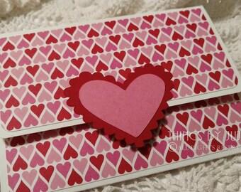 handmade Valentine Gift Card Holder Red Pink Heart Gift Card Holder Valentine Money Holder Valentines Day For Her Card Holder With Envelope