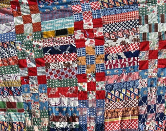 "Antique Patchwork Knotted Quilt or Coverlet, 72""  x 70"", Gorgeous Colors, PA Primitive Estate Find"