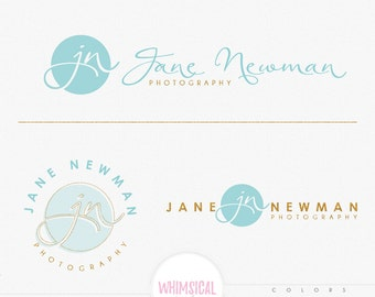 Photographer Name Design  1- Feminine Watercolor Branding Package Inc. Photography - GOLD GLITTER initials letters script cute Watercolor