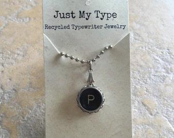 Vintage Typewriter Key Necklace - P