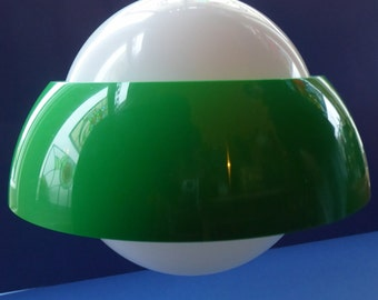 Quirky Scandinavian Space Age Hanging Pendant Light Shade. 1960s Emerald Green and White Plastic