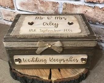 Personalised Mr and Mrs wedding keepsake box memory box wedding gift bride and groom