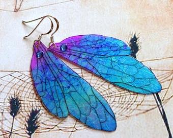 Fairy Wing Earrings, Fairy Earrings, Faerie Earrings, Iridescent Blue Earrings, Hand Painted, Blue Dangle Earrings, Boho Earrings