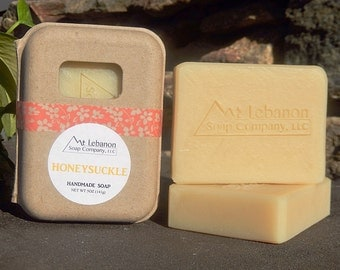 Honeysuckle Soap - Handmade Skincare - Floral Scented Soap - Vegan Bar Soap - Spring Scented Soap - Cold Process - Gift For Girlfriend -