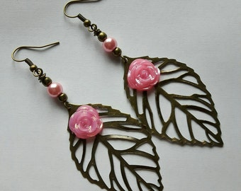 LEAF charm EARRINGS bronze filigree pink bead FLOWER
