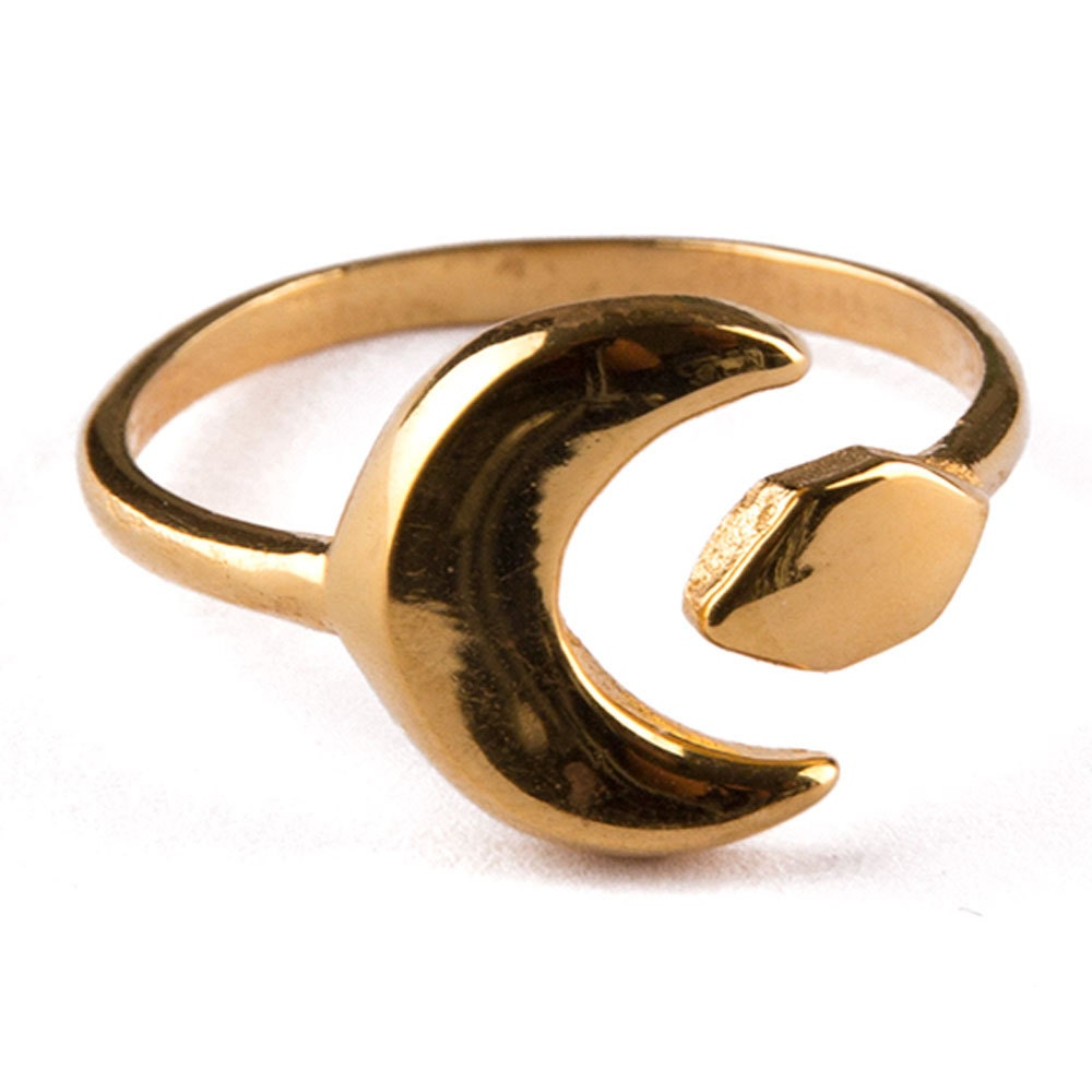Celestial Bands: Gold Ring Band 481 Celestial Moon Ring Celestial Ring