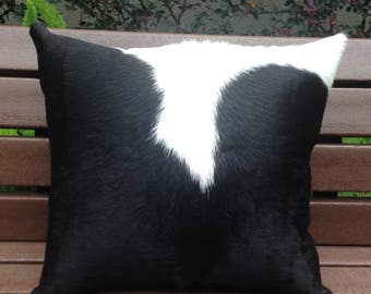 Cowhide ranch pillow