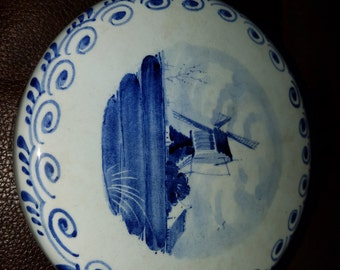 Vintage Delft Porcelain Fine Cheese Container