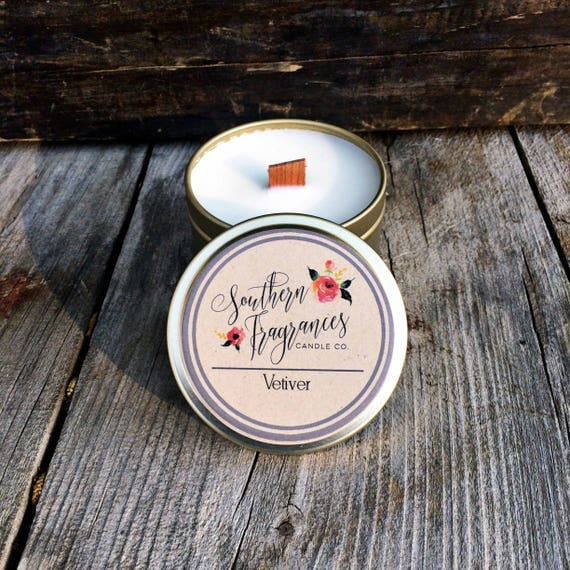 Vetiver Candle | 6oz Travel Size Soy Candle | Wood Wick Candle
