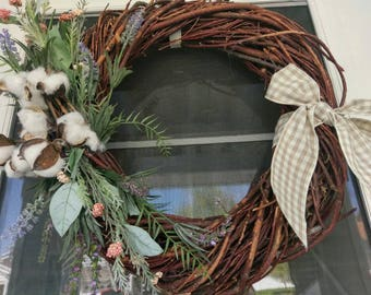 Flower and Cotton Wreath