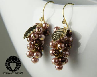 Grapes earrings with brown and cocoa glass pearls