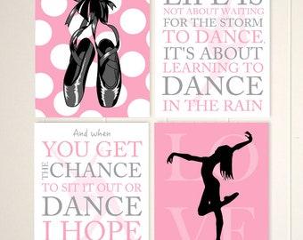 Jazz dance art, modern dance, ballet wall art, dance wall art, dancer art, girls art, teen girl decor, set of 4