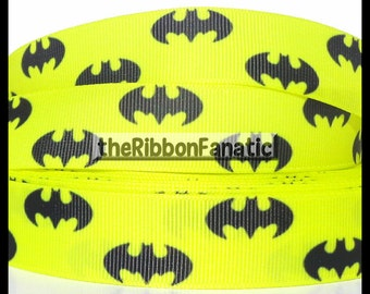 "5 yds 7/8"" Yellow and Black Batman Grosgrain Ribbon"