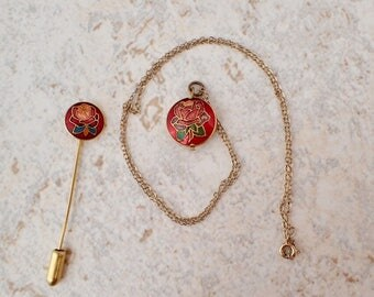 Vintage Rose Pendant Necklace & Matching Stick Pin Gold Chain Red Rose Floral Design Victorian Style Jewelry Set