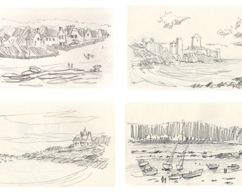 Lot of 4 (four) pencil drawing prints of Côte d'Armor Brittany France  french art Brittany art french decor drawings original art Bretagne