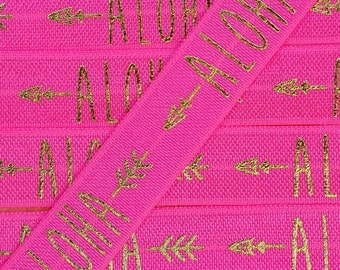 5/8 SHOCKING PINK with Gold ALOHA with Arrows Fold Over Elastic