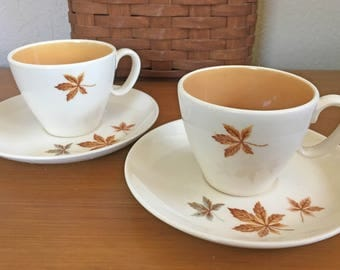 Taylor Smith Random Leaves Cups & Saucers - Set of 2
