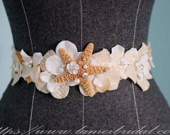 Champagne Starfish  Bridal Sash for Beach Wedding,Fabric Flowers with Cream Starfish ,Rhinestone  and pearls wedding Sash Belt
