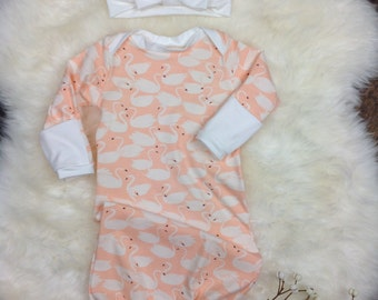 Infant Girl Coming Home Outfit. Swanlings Baby Layette Gown~ Girl Coming Home Outfit