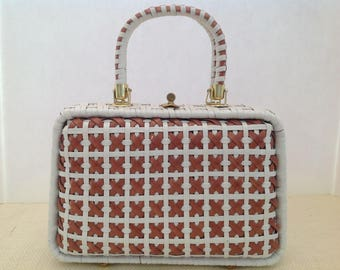 VINTAGE Coated White and Brown Criscross 1960's Handbag. Made Exclusively for Lesco Lona in Hong Kong