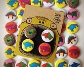 DINOSAURS! 4 badge pack! Choose between 8 delightful dinos. Pinbadge - Button -