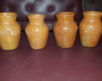 Vtg. Set Of Four Tarasco Mexican Terracotta Mugs 5.5 Inches In Height  For Decoration