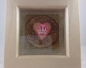 Gold coloured wooden mini shadow box, polymer clay tiles, crown and heart