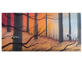 Woodland Race #1// //10x20//oil painting//Bee painting