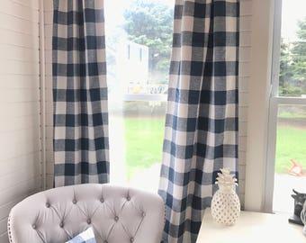 1 pair of Plaid Curtains , Plaid , Buffalo Plaid , Window Treatments, Curtains , Buffalo Check, Nursery, Vintage Home Decor, Farmhouse Style