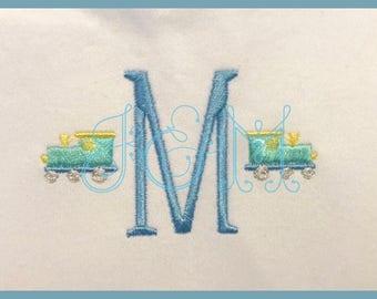 Mini Train Satin Stitch and French Knot Embroidery Design