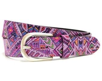 Belt leather belt women belt cow leather Inca design silver buckle