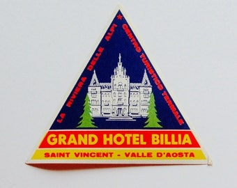 Vintage Hotel Luggage Label, Grand Hotel Billia, Italy