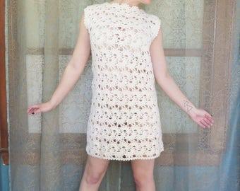 1960s Cream Crochet Dress 60s Shift Dress 60s Knit Dress 60s Boho Dress Sheer Sheath Dress Twiggy Hippie Sleeveless Sweater Dress