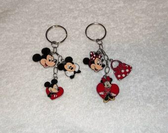 Handmade MICKEY & MINNIE MOUSE Inspired Keyrings Handbag Charm Keychain