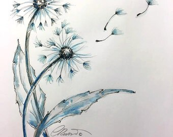 Watercolor Dandelions, Limited Edition Print, Dandelions Watercolor Painting, Fine Art Print, Nature watercolor Painting, Blue Dandelions