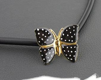 Black White & Gold Butterfly Buckle on Black Metal Elastic Coil Belt