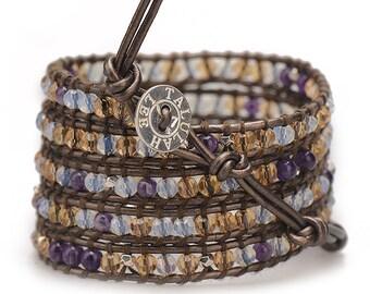 THE AMBER / Wrap Bracelet, Leather Beaded Wrap Bracelet, Brown Wrap Bracelet, Beaded Crystal Bracelet, Leather Wrap Bracelet, Brown Crystal