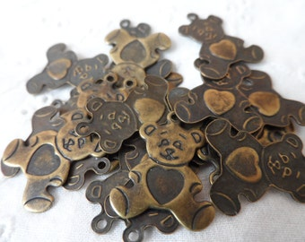 """Small vintage gold plate brass teddy bear charms,1/2"""",20pcs-CHM253"""