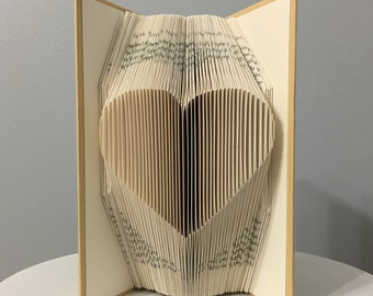 SALE 20% OFF - Valentines Day Gift for Him for Husband for Boyfriend - Valentine for Her for Wife for Girlfriend - Single Heart Folded Book