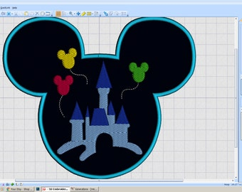 Embroidery Iron-on Patch - Mickey head Castle silhouette - iron-on